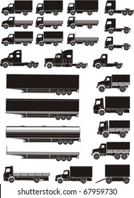 set of lorry and trailer silhouettes