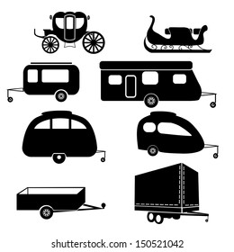 Set of lorry and trailer silhouettes.Set of vector icons - transportation symbols. Black on white.