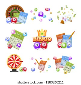 Set of lottery tickets, bingo, roulette. Realistic 3d lotto game. Balls with number for game, drawing prizes in lotto. Financial success, economic growth, victory, winnings, luck. Vector illustration