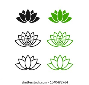 Set lotus flowers flat graphic logos.