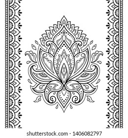Set of lotus mehndi flower pattern and seamless border for Henna drawing and tattoo. Decoration in oriental, Indian style. Doodle ornament. Outline hand draw vector illustration.