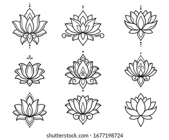 Set of lotus mehndi flower pattern for Henna drawing and tattoo. Decoration in oriental, Indian style. Doodle ornament. Outline hand draw vector illustration.