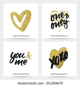 Set of love cards for wedding and Valentine's day. Hand brush lettering with ink and golden sparkling hand painted hearts. Modern calligraphic design.