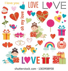 Set of love elements. Gifts, hearts, birds. Vector illustration