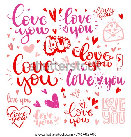 Set Love Hand Drawn Quotes Love Stock Vector Royalty Free