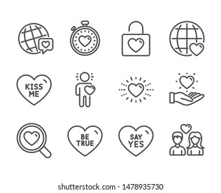 Set of Love icons, such as Be true, Friend, Heartbeat timer, Couple love, Heart, World brand, Say yes, International love, Kiss me, Hold heart, Wedding locker line icons. Be true icon. Vector
