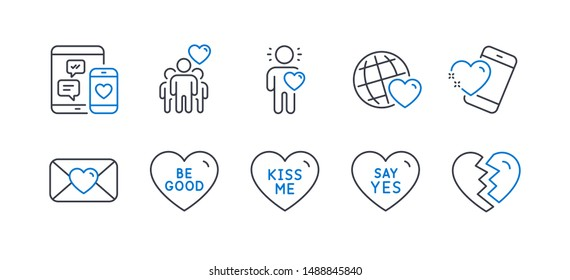 Set of Love icons, such as Kiss me, Friendship, Heart, Be good, Valentine, Friend, Say yes, Friends world, Social media, Break up line icons. Love sweetheart, Trust friends. Line kiss me icon. Vector