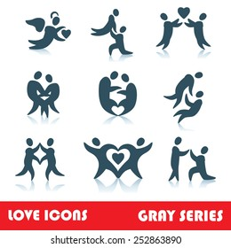 Set of love logo vector icons, gray series