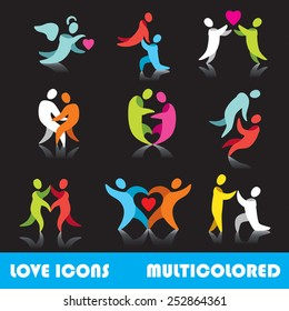 Set of love logo vector icons, multicolored series