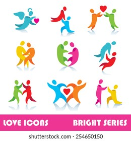 Set of love logo vector icons, bright series