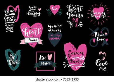 Set love hand drawn quotes vector 504544081 set of love quotes with hearts my heart is yours forever amore be voltagebd Gallery