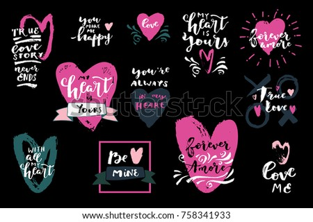 Set Love Quotes Hearts My Heart Stock Vector Royalty Free