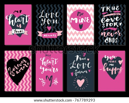 Set Love Quotes Saint Valentines Day Stock Vector Royalty Free Impressive Love Quotes For Valentines Day Cards