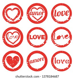 Set love rubber stamp. Valentine's Day stamps set