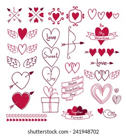 Set of love symbols in hand drawn style. Design elements - hearts, bow, arrow, ribbon and cupid wings. Valentine's day, wedding decoration. Good for invitation card.