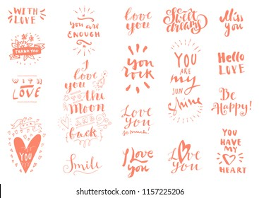 Set love quotes saint valentines day stock vector royalty free set of love vintage hand drawn quotes in orange color on white background for postcards m4hsunfo