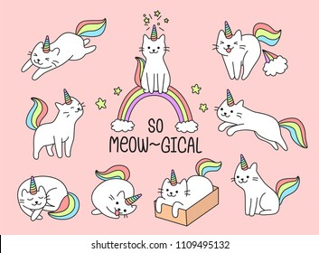 Set of lovely cat unicorn