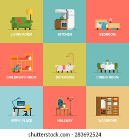 Set of lovely and colorful vector interior design room types icons in trendy flat design featuring living room, bedroom, kitchen, kids' room, bathroom, dining room, work space and hallway