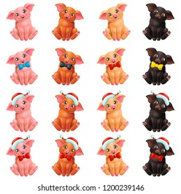 The set lovely cute cheerful little pink, red, yellow and black pig sits with Santa Claus cap and bow. A cartoon vector illustration isolated on white.