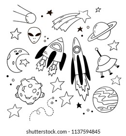 Set of lovely doodle icons. Hand-drawn rockets, planets and other cosmic elements.