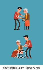 Set of lovely flat character design on young volunteer man caring for elderly woman | Adult man helping and supporting old aged female | Senior woman in wheelchair with careful man