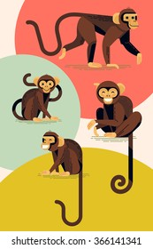 Set of lovely flat design vector monkey characters in different poses. Laughing and smiling apes in stylish and creative geometric style, isolated