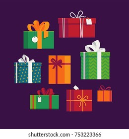 Set of lovely flat vector festive holiday gift boxes and present packages. Ideal for Birthday or Christmas themed web and graphic design
