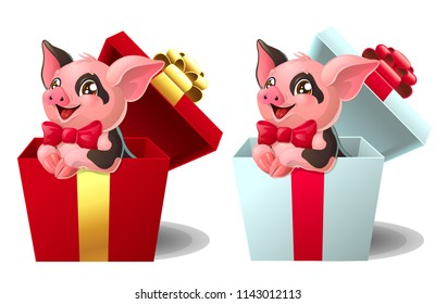 Set the lovely pink with black paint little pigs with red bows sits in the gift white and red box. A cartoon vector illustration isolated on white.