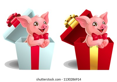 Set the lovely pink little pigs with red bows sits in the gift white and red box. A cartoon vector illustration isolated on white.