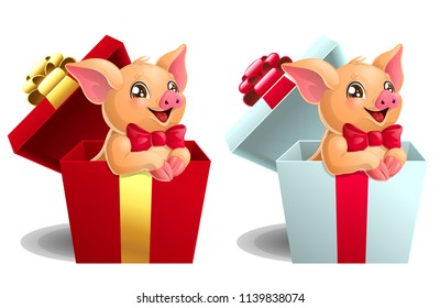 Set the lovely yellow little pigs with red bows sits in the gift white and red box. A cartoon vector illustration isolated on white.