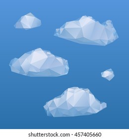 Set of low poly clouds on blue background