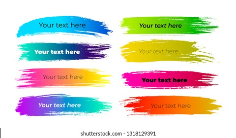 Set of Lower third brush pack. Vector illustration. Isolated on white background.