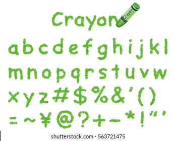 A set of lower-case letters and symbols written with a green crayon.