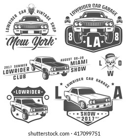 Set Of Lowrider Carslow Riderlowrider Machinelowrider For Emblems And Design