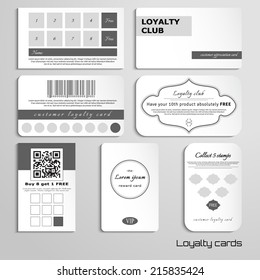 Set of loyalty cards. The basic design in black and white colors. Realistic shadows. Place for your text.