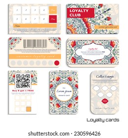 Set of loyalty cards. Beautiful fantastic floral pattern. Delicate ornament with leaves. Place for your text.