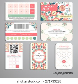 Set of loyalty cards. Beautiful floral pattern in modern style and moroccan tiles ornament. Place for your text.