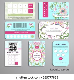 Set of loyalty cards. Beautiful floral pattern with imitation of chinese porcelain painting. Lotus flowers and leaves are painted by watercolor. Place for your text.