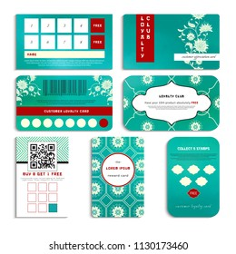 Set of loyalty cards. Beautiful flowers and green watercolor background.  Imitation of chinese porcelain painting