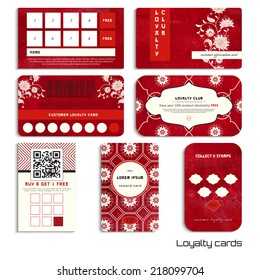 Set of loyalty cards. Beautiful flowers and red watercolor background. Hand drawing. Imitation of chinese porcelain painting. Realistic shadows. Place for your text.
