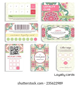 Set of loyalty cards. Beautiful oriental floral pattern. Delicate green and pink. Realistic shadows. Place for your text.