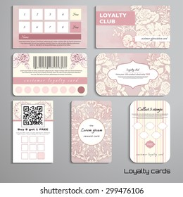 Set of loyalty cards. Bouquet victorian garden roses. Vintage style. Watercolor and striped backdrops. Place for your text.