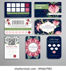 Set of loyalty cards. Curved branches and fantastic flowers with berries. Dark backdrop. The motives of the paintings of ancient Indian fabrics. Tree of Life collection. Place for your text.
