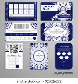Set of loyalty cards. Damask oriental pattern and round ornament. Place for your text.