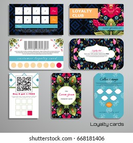Set of loyalty cards. Dark backdrop. Floral Ukrainian pattern. Flowers in the style of Petrykivka painting. Pattern similar to cross stitch. Place for your text.