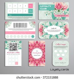 Set of loyalty cards. Delicate ornament with fantasy flowers. All design elements consist of hearts. Wedding or Valentine's Day. Place for your text.