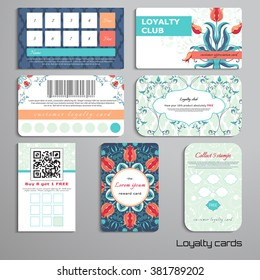 Set of loyalty cards. Floral ornament with tulip and curls. Place for your text.