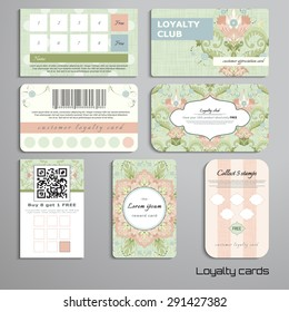 Set of loyalty cards. Floral pattern in vintage style and delicate canvas texture. Place for your text.