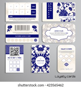 Set of loyalty cards. Floral pattern. Imitation of chinese porcelain painting. Watercolor background. Place for your text.