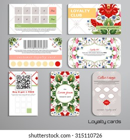 Set of loyalty cards. Floral Ukrainian pattern. Flowers in the style of Petrykivka painting. Pattern similar to cross stitch. Place for your text.